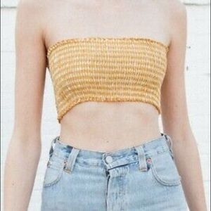 Brandy Melville yellow checkered tube top